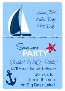 Labor Day ShinDig - Captain John's Fawn Harbor & Marina Big Bear Lake