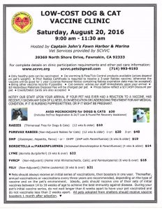 Low Cost Pet Vaccine Clinic - Dog Days of Summer - CJFHM
